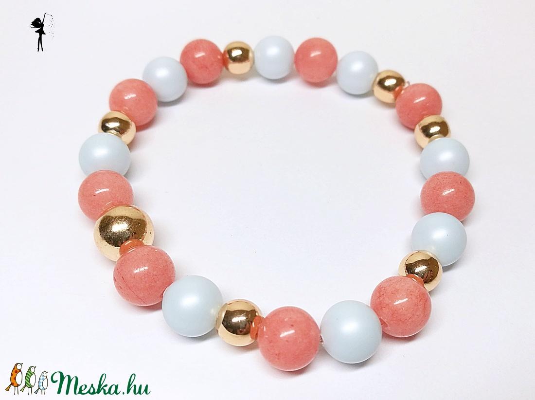 Milyen gyöngyök vannak rózsaszín lazacban. Mutiara 6 AA rózsaszín gyöngy karkötő